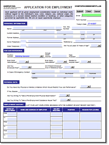 Elegant Employment Application E Form